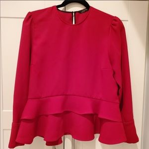 True Red Peplum Blouse